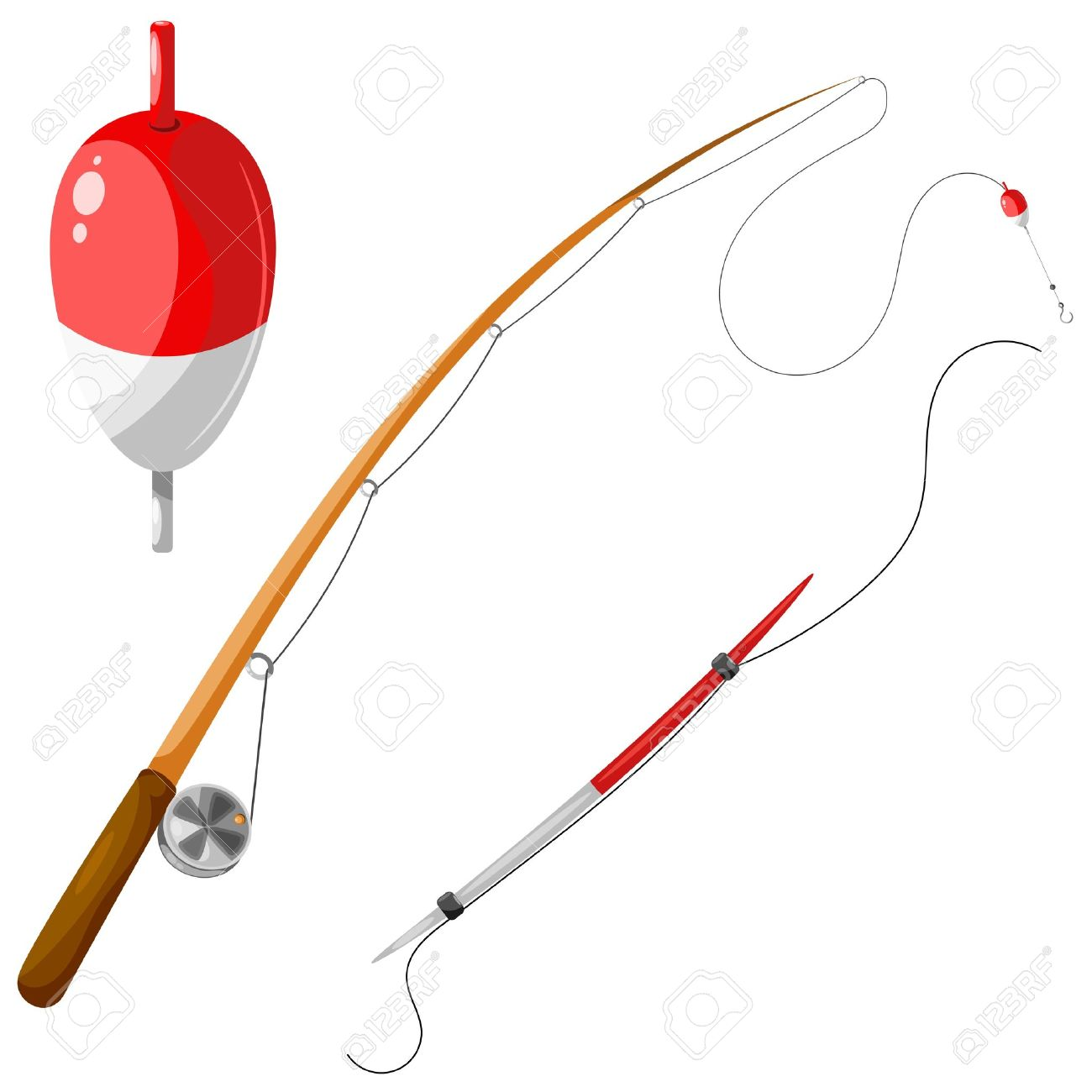 set of gear for fishing. royalty free cliparts, vectors, and stock, Fishing Reels