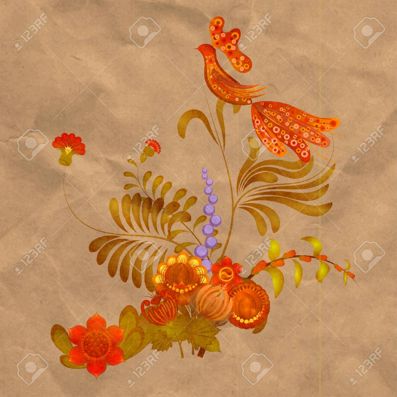 Petrikov painting.  Floral ornament on old paper background. eps 10 Stock Vector - 16583072