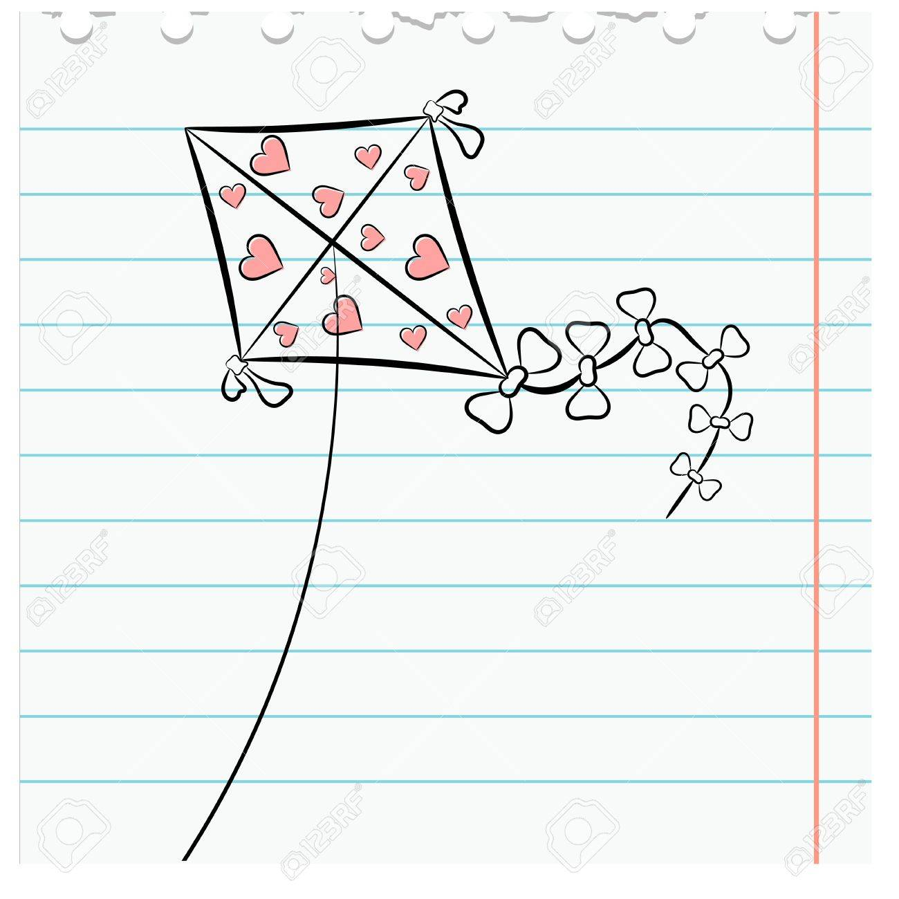 Exercise book leaf with a picture kite. eps10 Stock Vector - 16607844