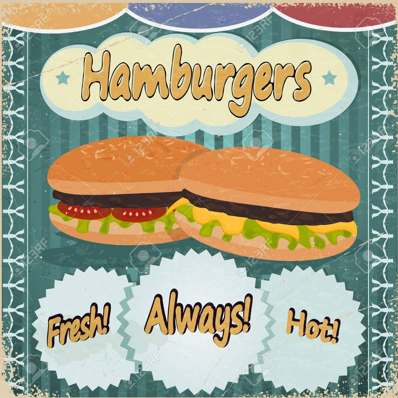 Vintage background with the image of hamburgers. Stock Vector - 17453233
