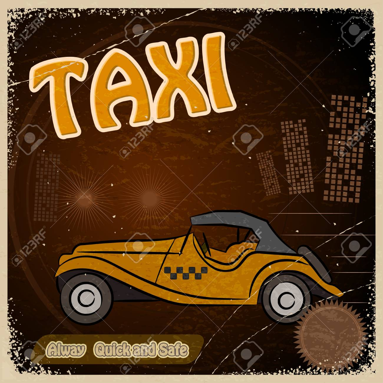 Vintage Postcard - Invitation to the trip - the image taxis Stock Vector - 17537061
