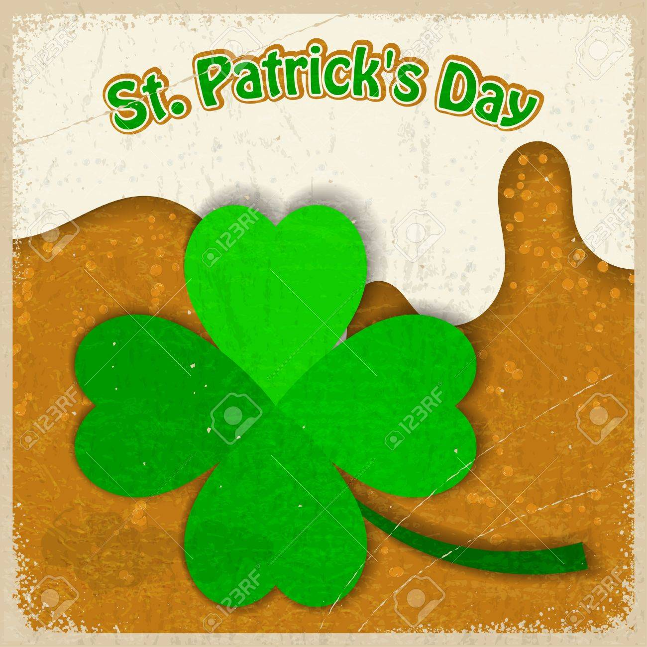 Vintage background with the image of clover St  Patrick s Day Stock Vector - 17537060