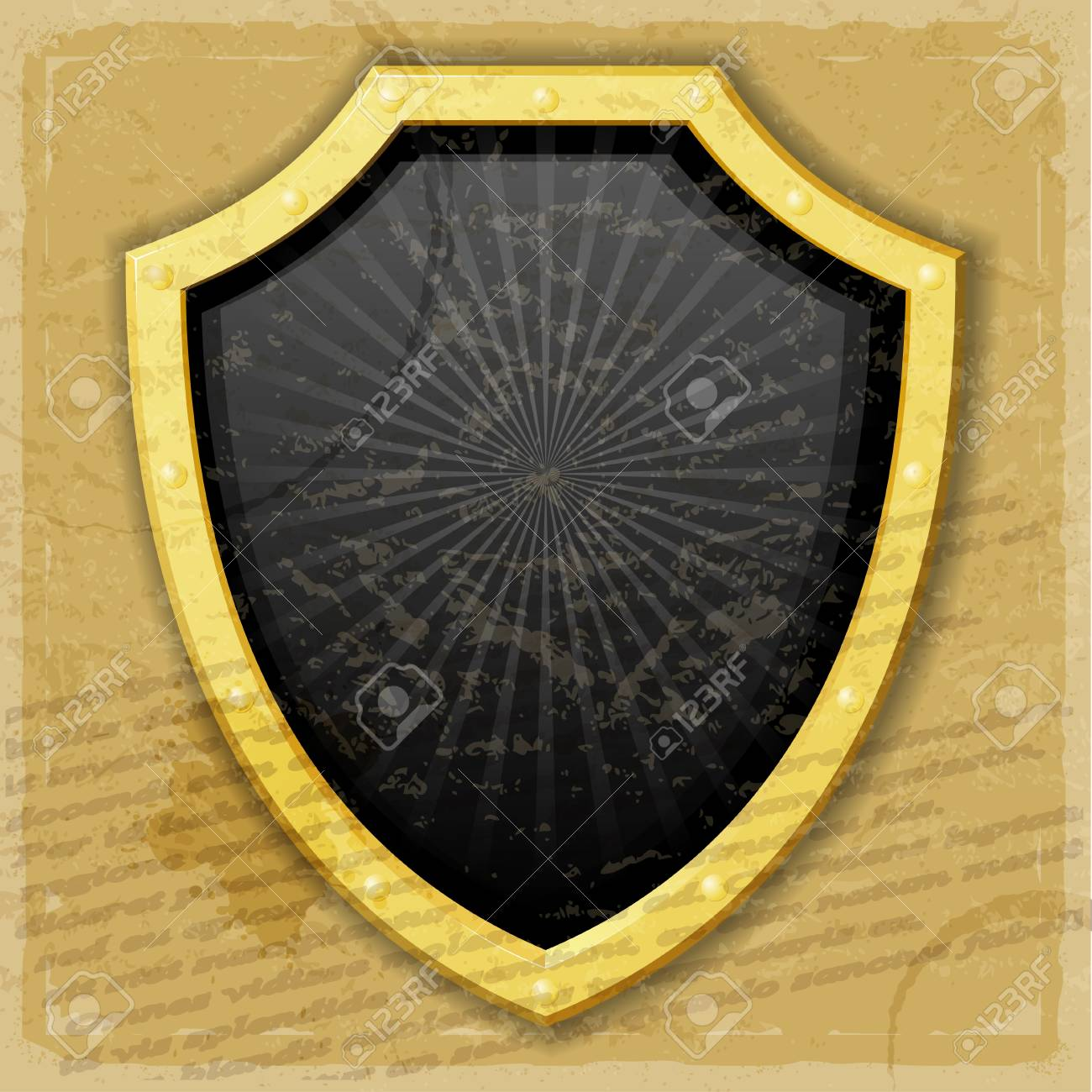 A golden shield on the vintage background Stock Vector - 17537049