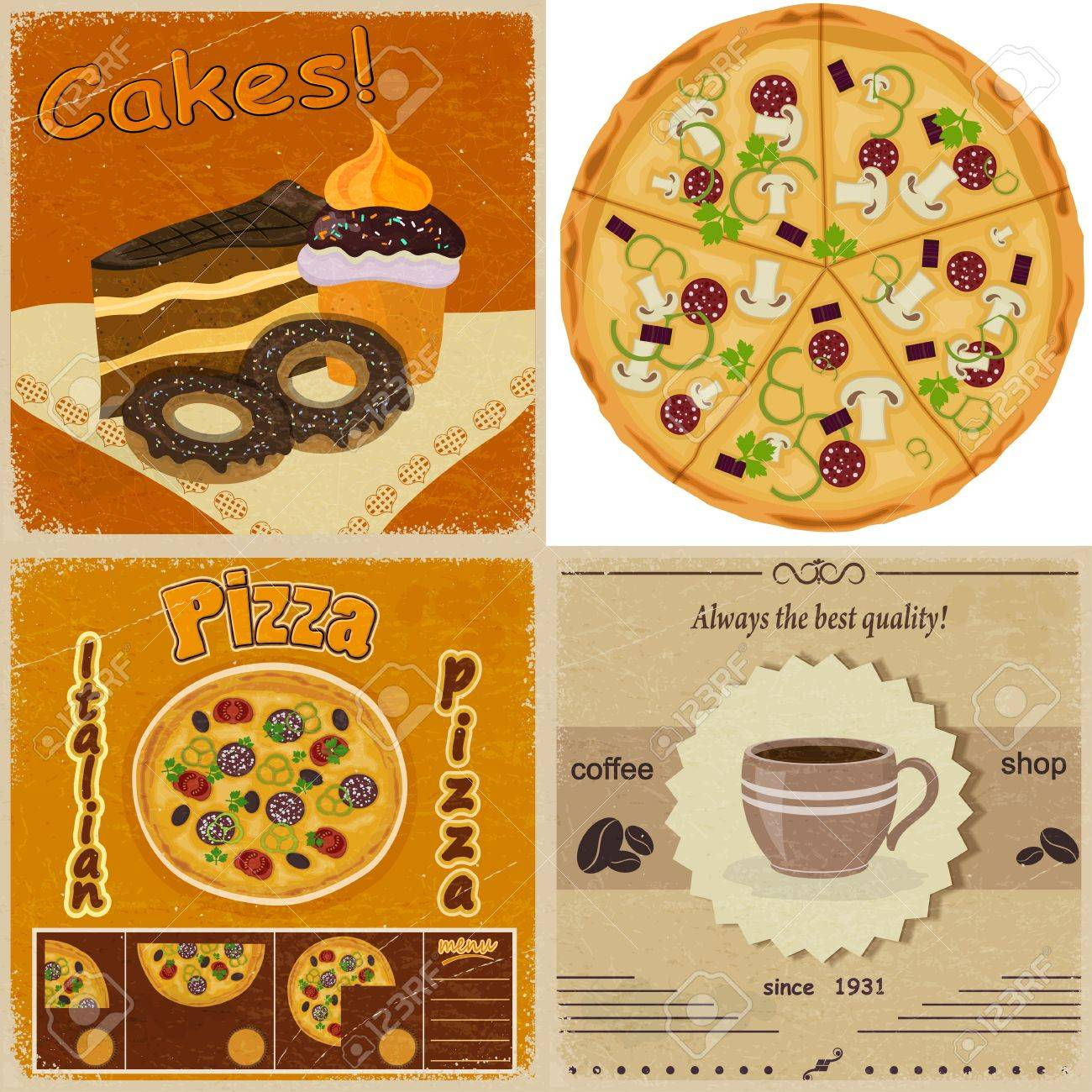 Set of vintage cards with the image of food Stock Vector - 17657764