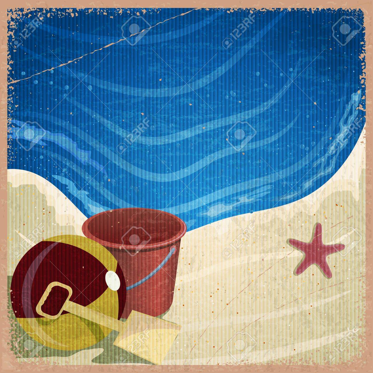 Children's toys on the background of the sea shore - a bucket, shovel, ball - vintage card Stock Vector - 17900198