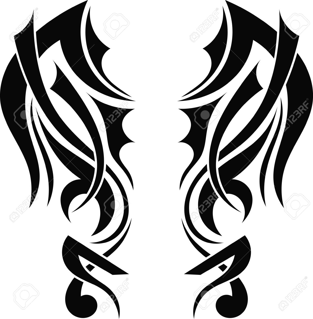 graphic design tribal tattoo wings royalty free cliparts vectors rh 123rf com  vector wing designs