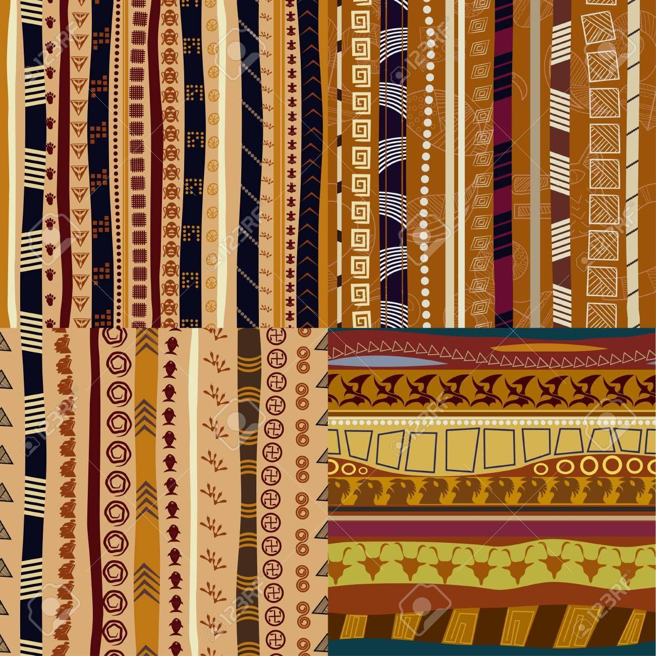 Set of  color patterns primitive tribal pattern Stock Vector - 18695954