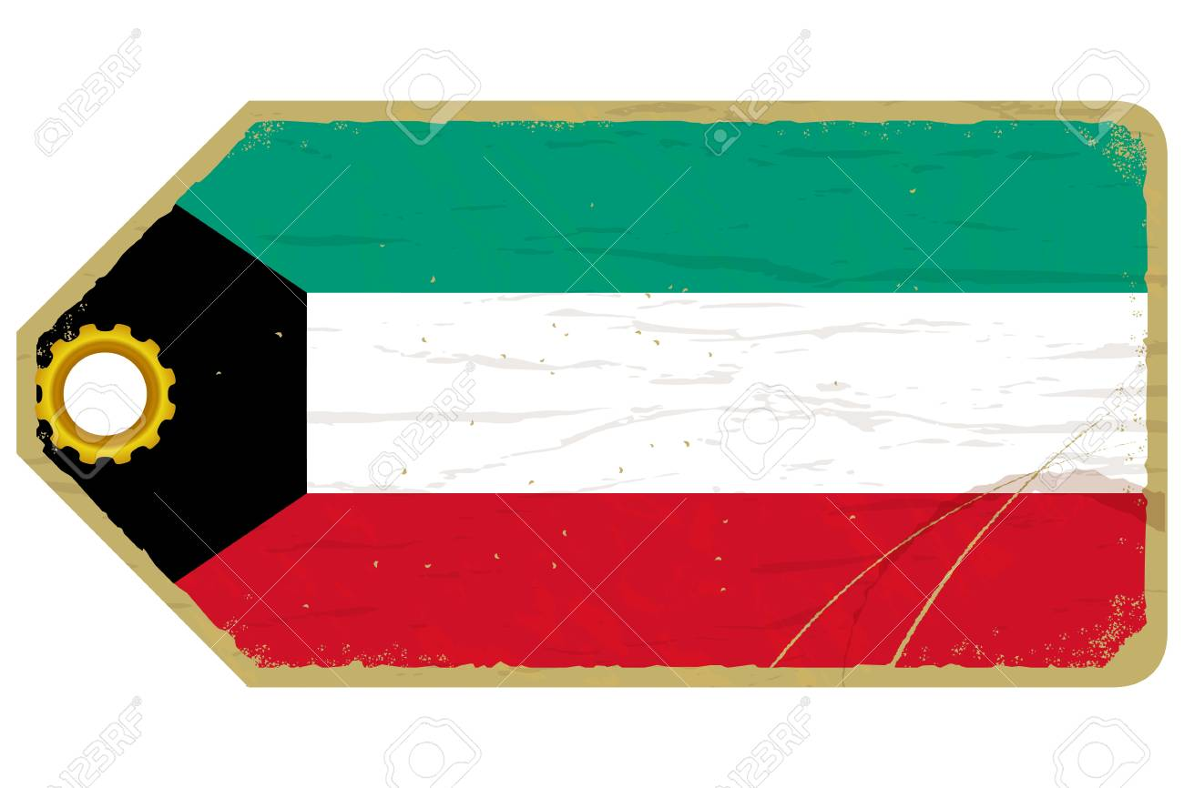 Vintage label with the flag of Kuwait Stock Vector - 20594456