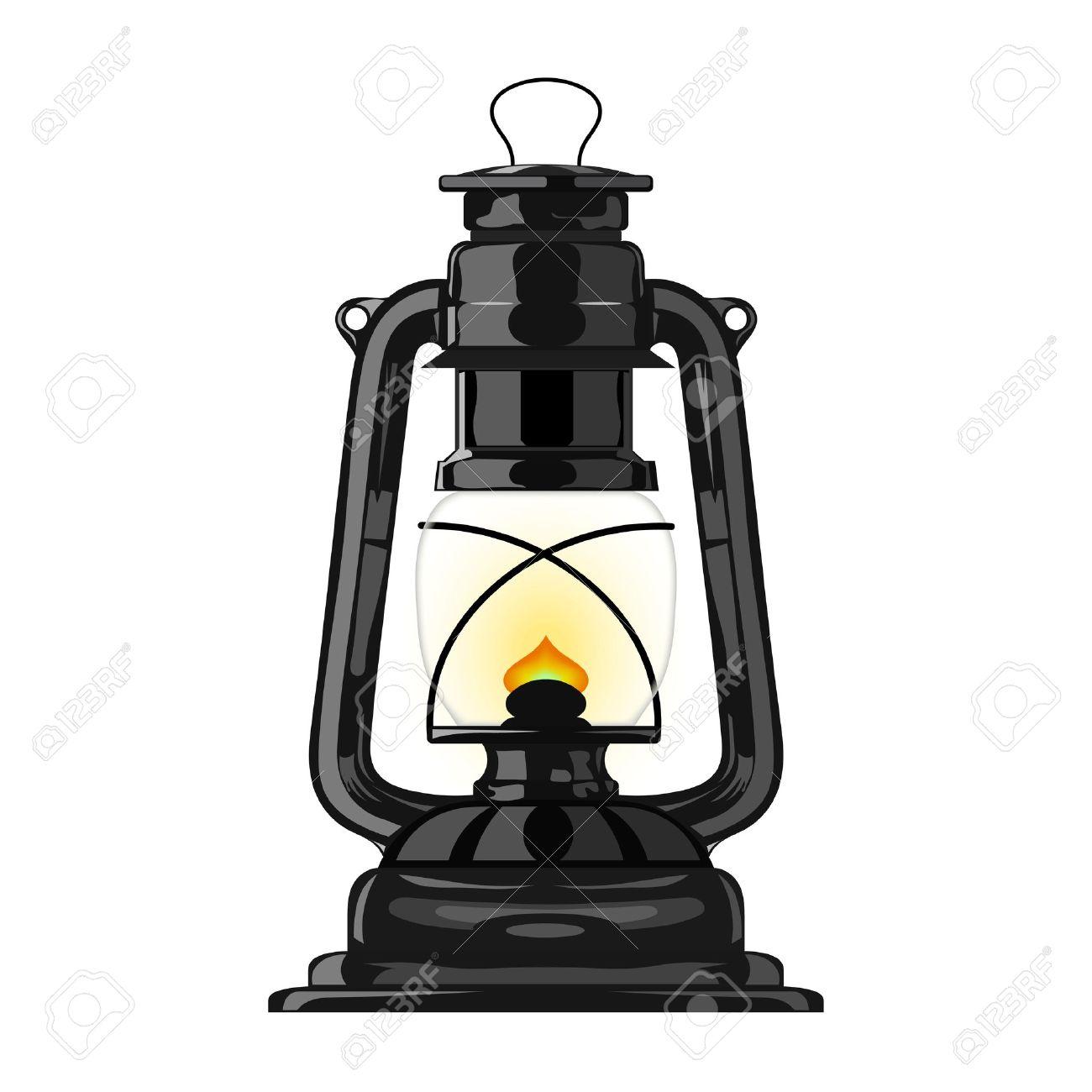 Old Kerosene Lamp Stock Vector