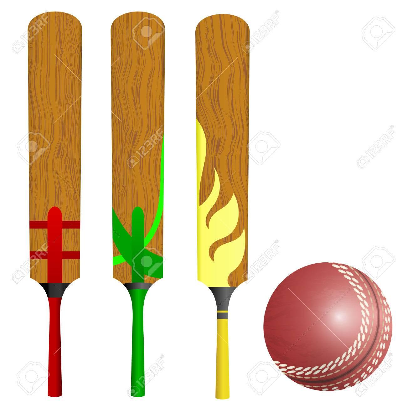 Cricket bats and ball Stock Vector - 22593335