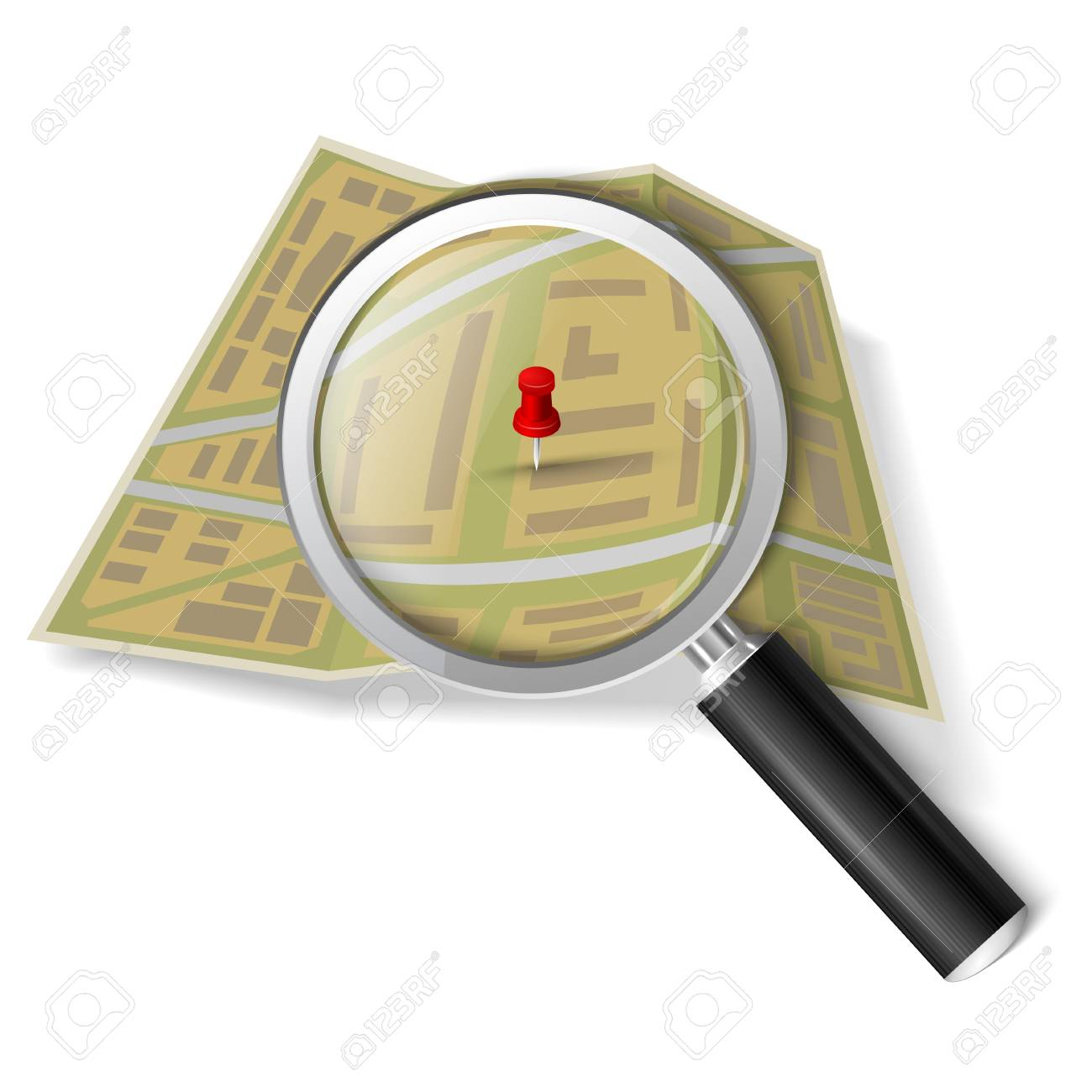 Magnifying glass over the map Stock Vector - 22765874