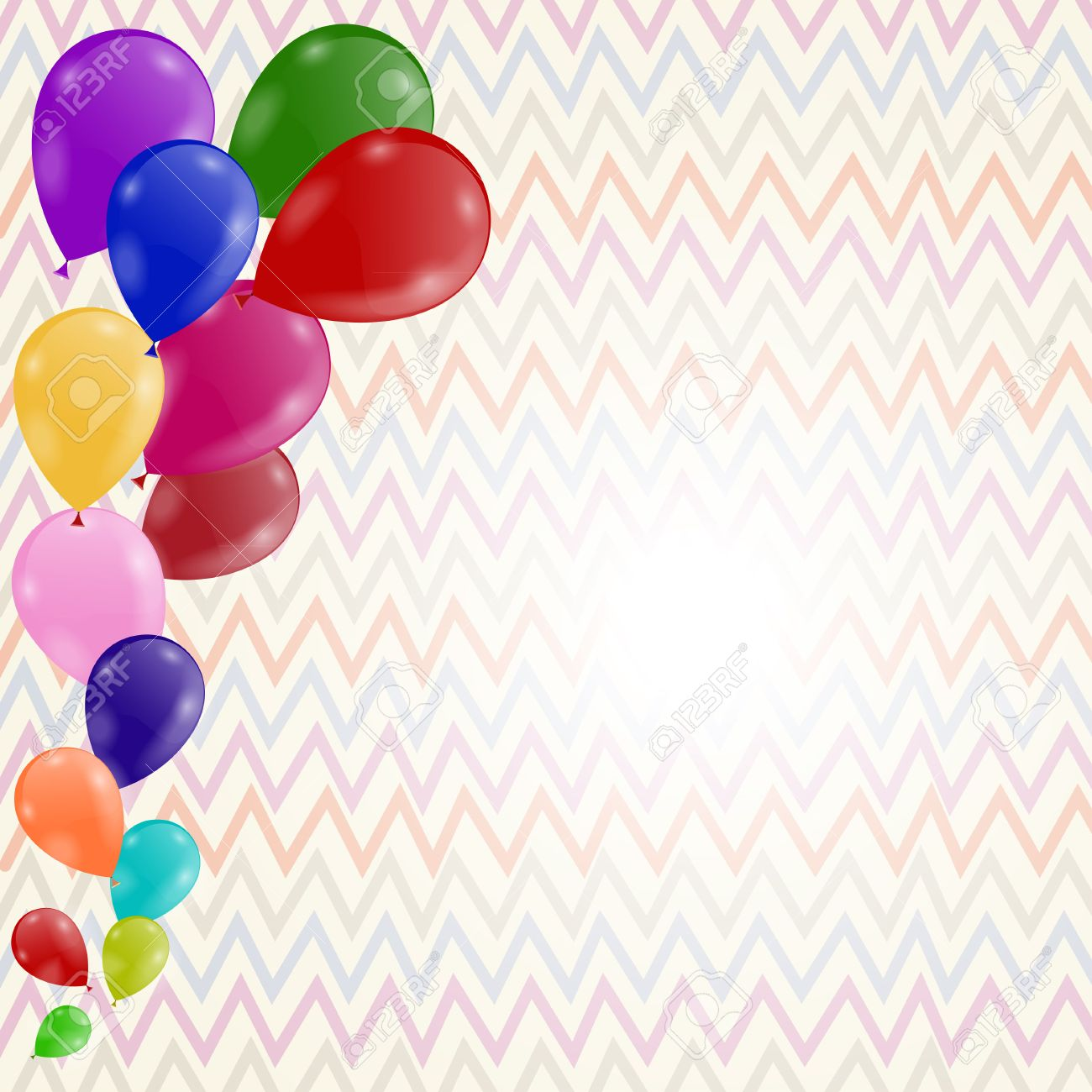 colored background with balloons birthday invitation royalty free