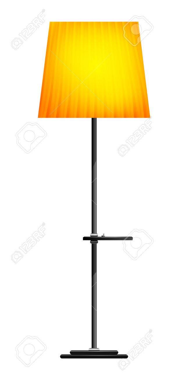 Gelb Stehlampe Auf Weissem Hintergrund Lizenzfrei Nutzbare