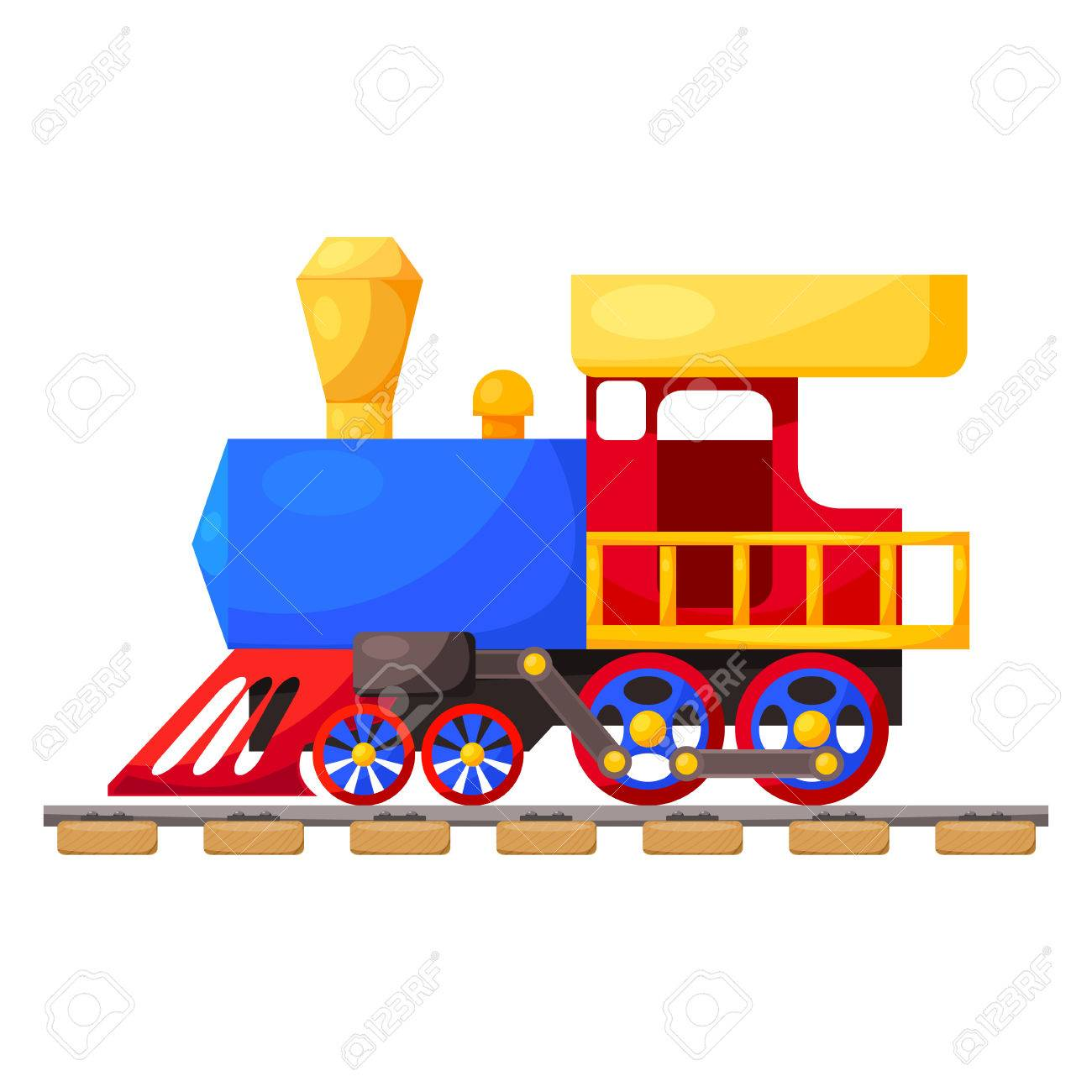 Red blue train on the railroad isolated on white background. Cartoon. Vector illustration. - 32186640
