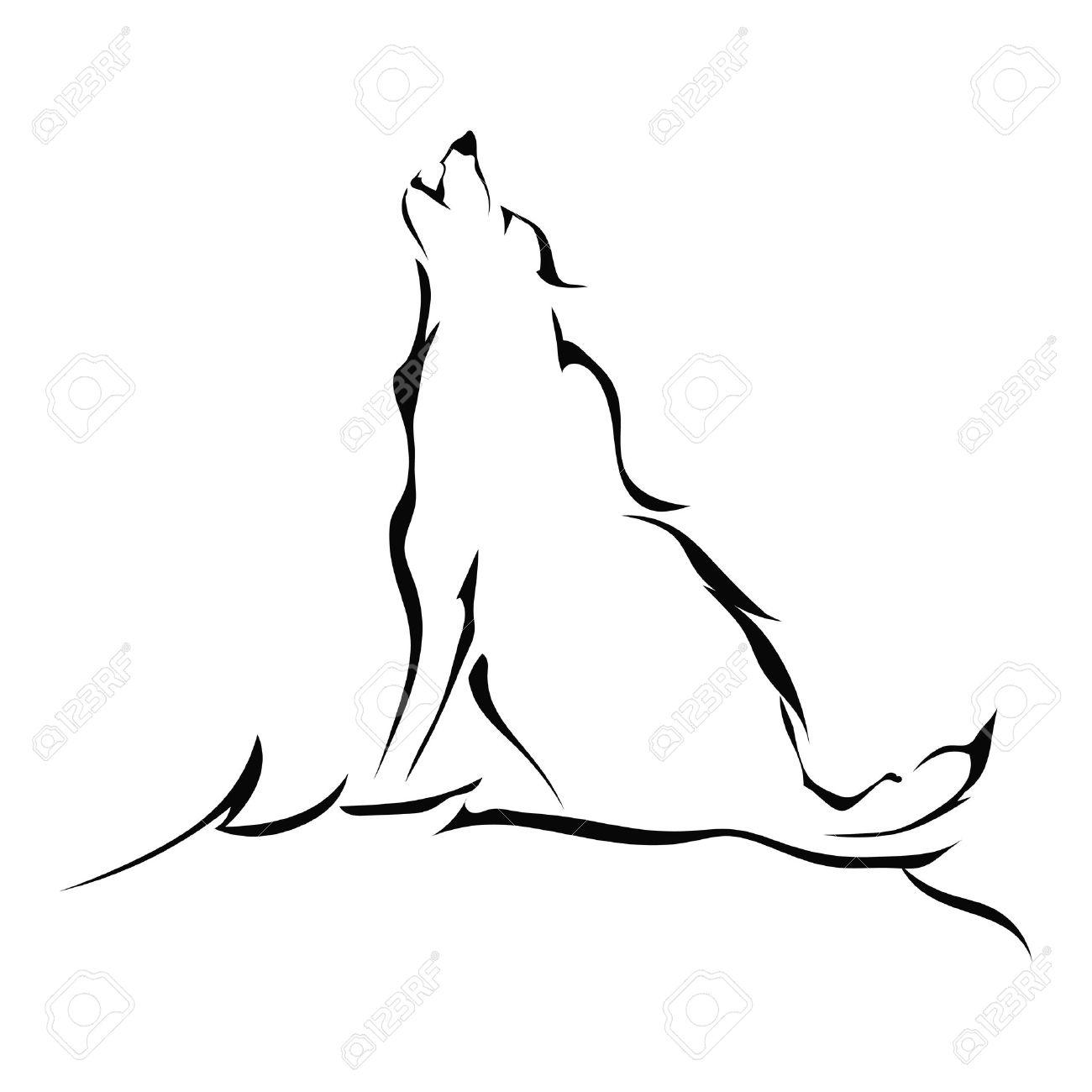 Silueta De Un Lobo Aullando Aislados Sobre Fondo Blanco Ilustración