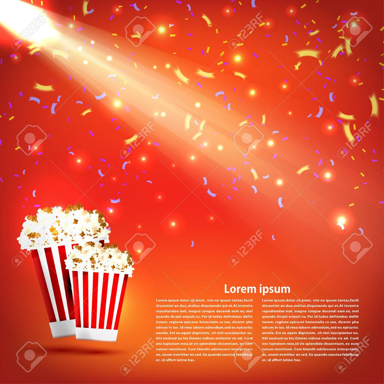 Banner The Cinema With Popcorn And A Spotlight On Red Background Royalty Free Cliparts Vectors And Stock Illustration Image 40227598