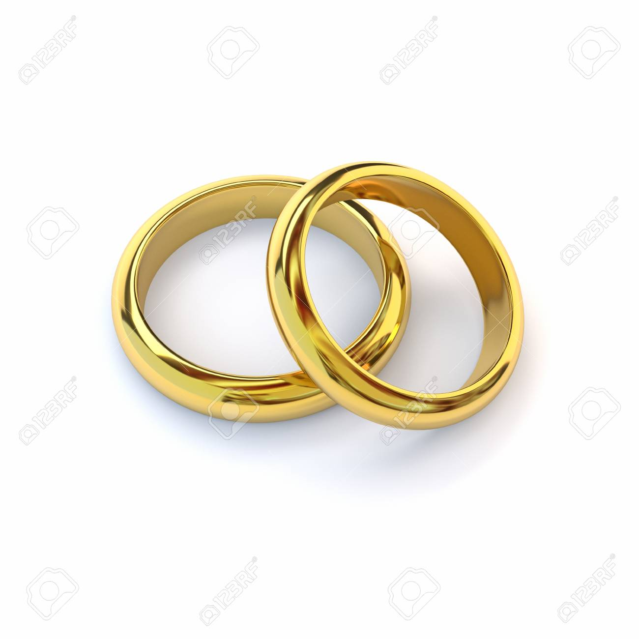 Stock Photo Two Gold Wedding Bands On White Background 3d Render: Cross Backround Wedding Bands At Websimilar.org