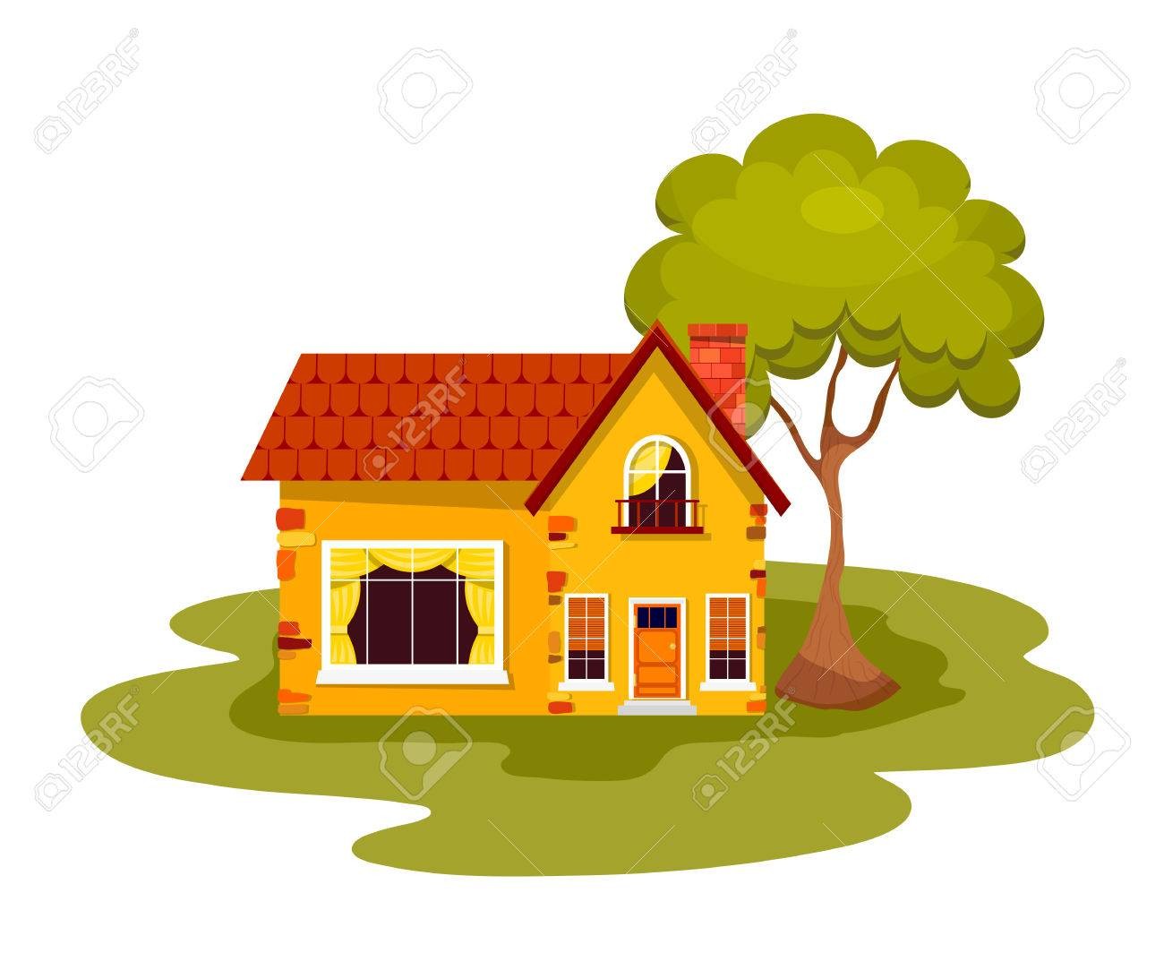 yellow stone house with green tree on a white background country