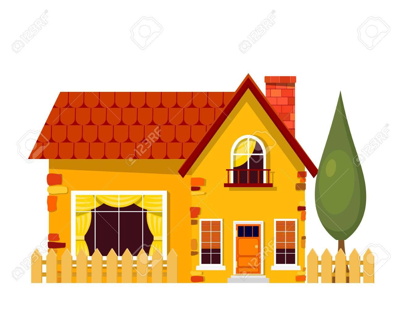 Banque dimages maison jaune avec des peupliers maison de dessin animé avec clôture et arbre vert sur fond blanc illustration de la maison rurale