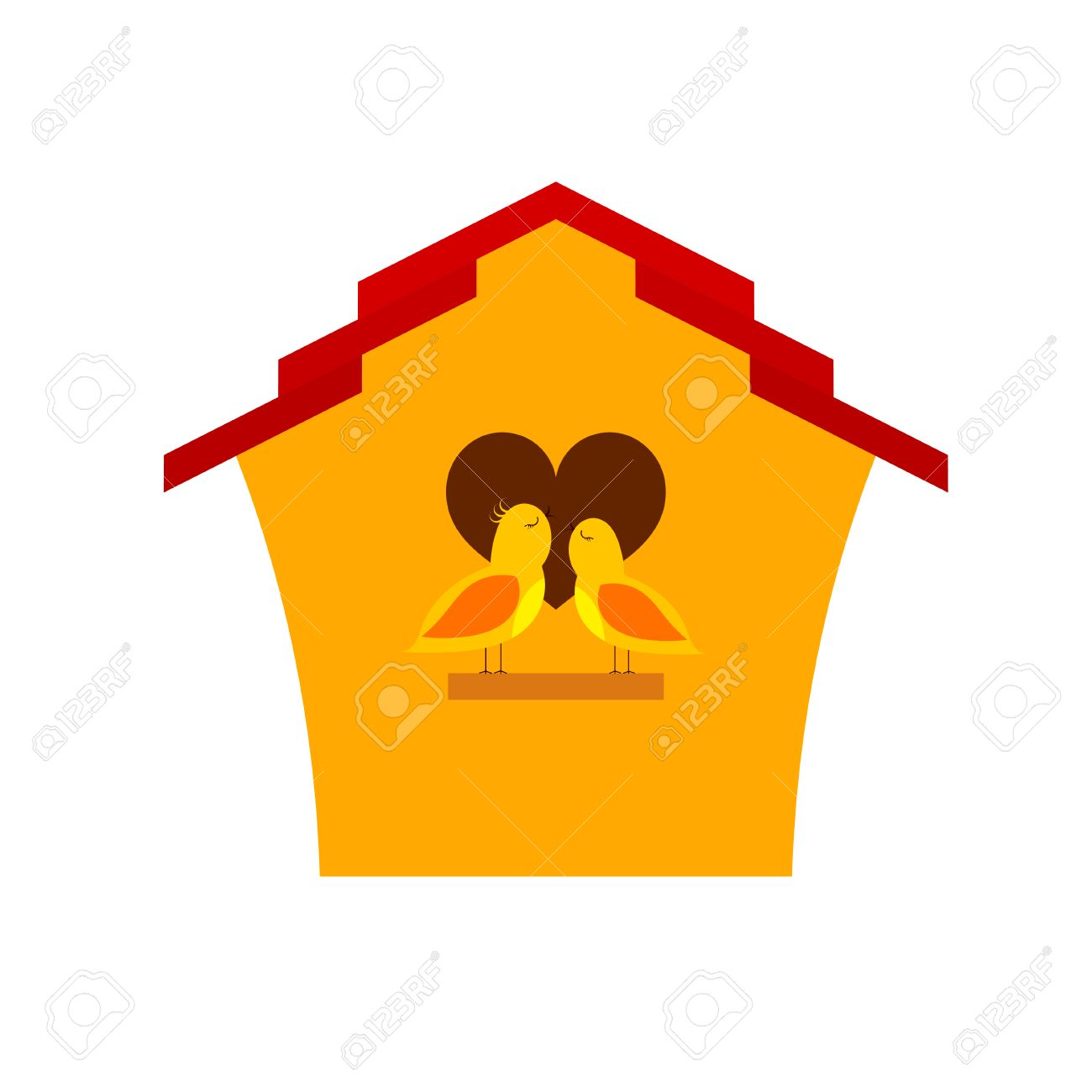 Vector   Yellow Cartoon Birdhouse With Birds. Two Birds In Front Of His  Home Singing A Song Of Love. Spring Season. Symbol Of Family, Love And  Prosperity.