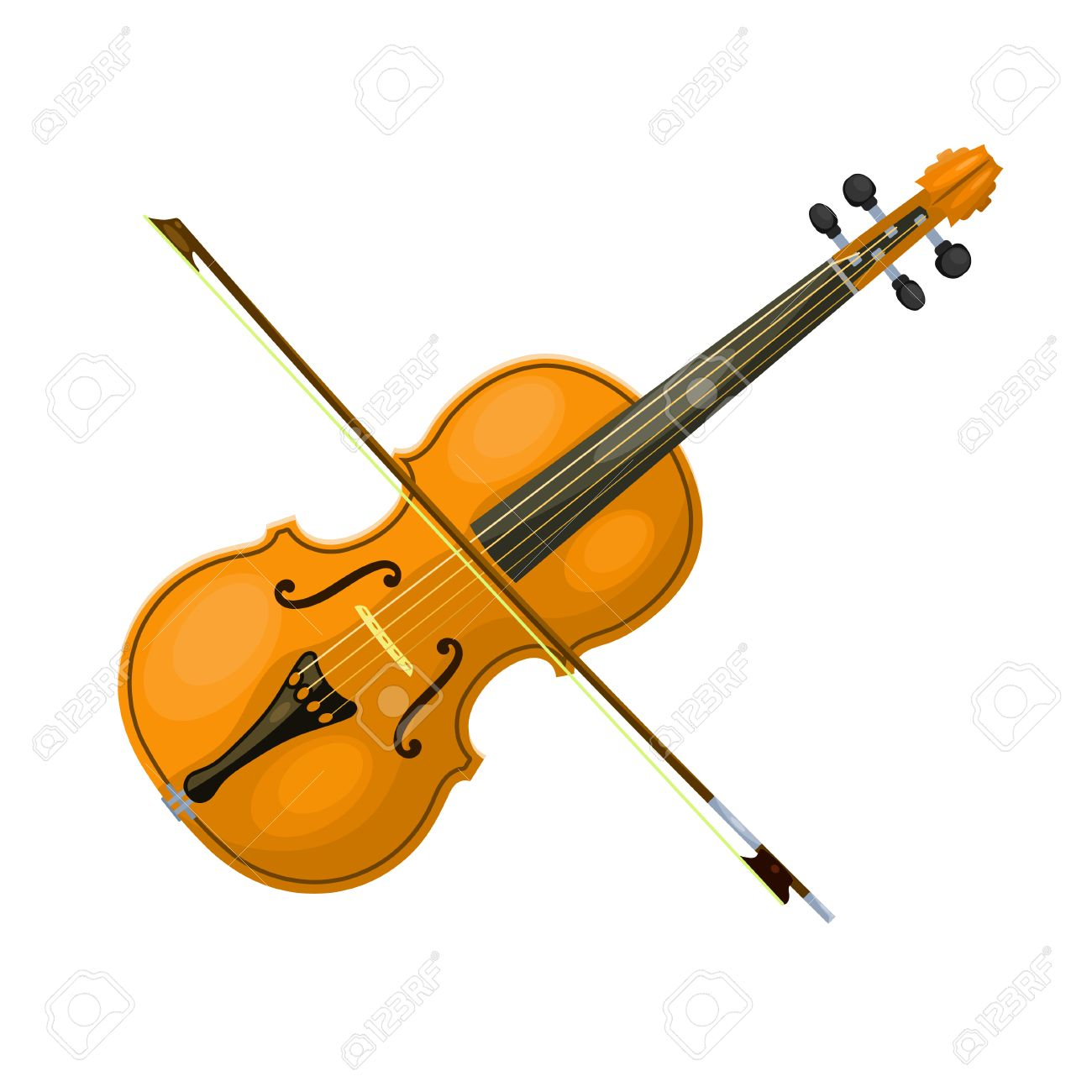 musical instrument violin with a bow on a white background cartoon rh 123rf com cartoon violin images cartoon violinist