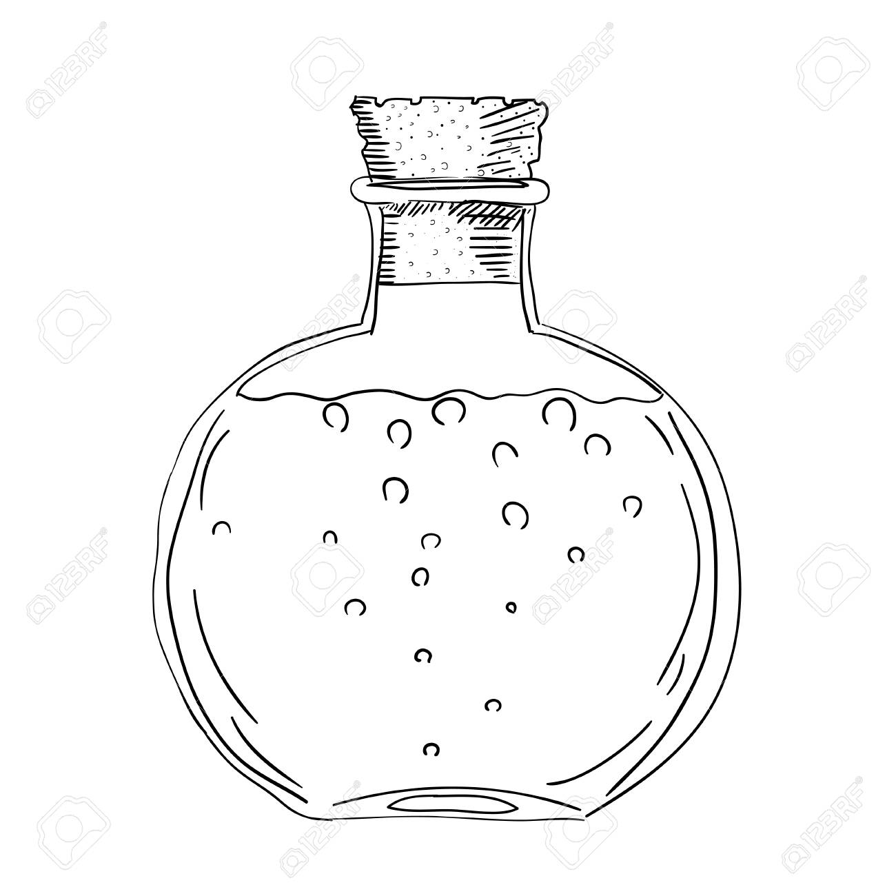 sketch drawing of the bottle with a cork isolated object on