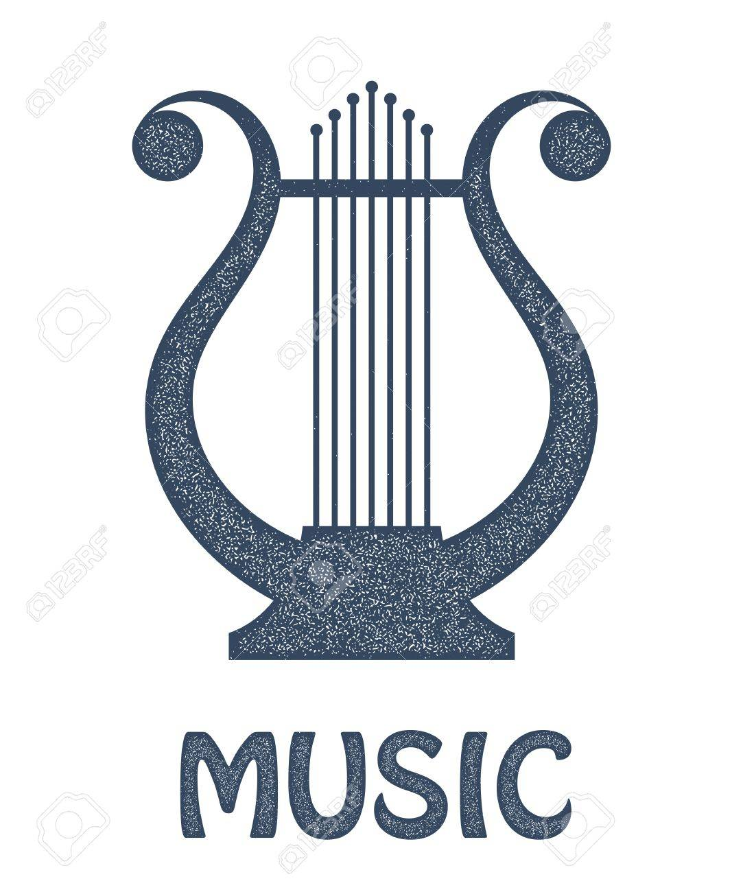 Vector monochrome image of vintage Lyre on a white background