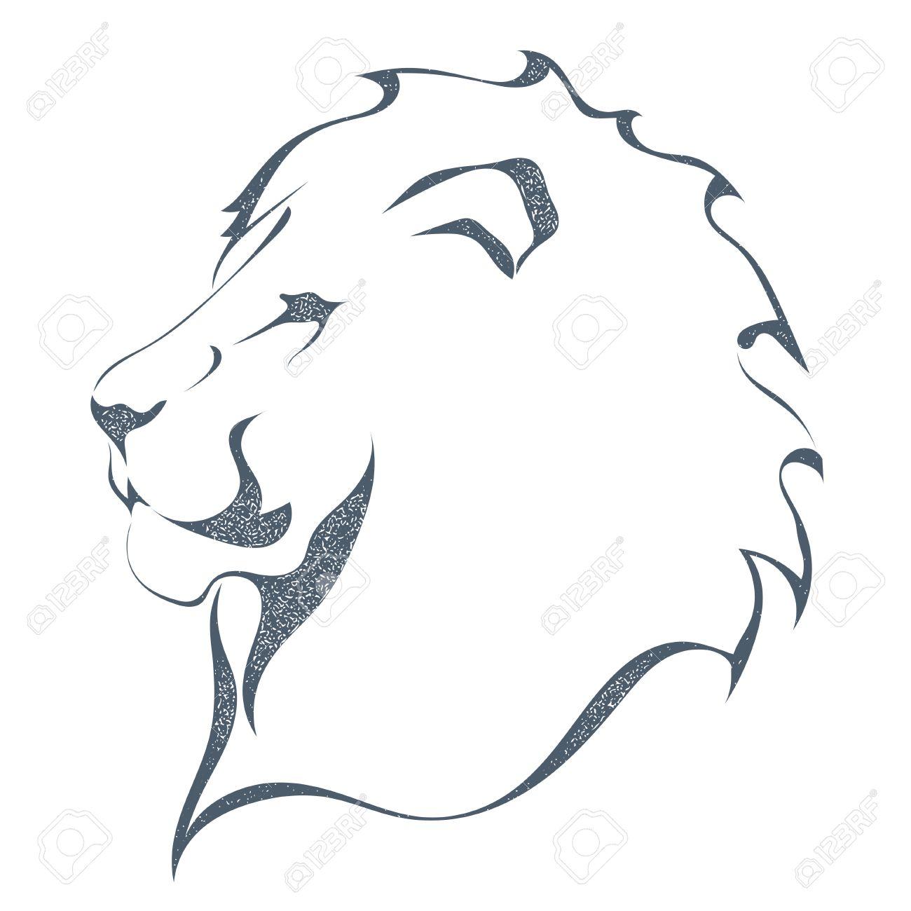 Sketch Silhouette Noire De La Tête D Un Lion Dans Le Profil Isolé Sur Fond Blanc Le Roi De Tous Les Animaux Le Style Grunge La Force Et La Fierté