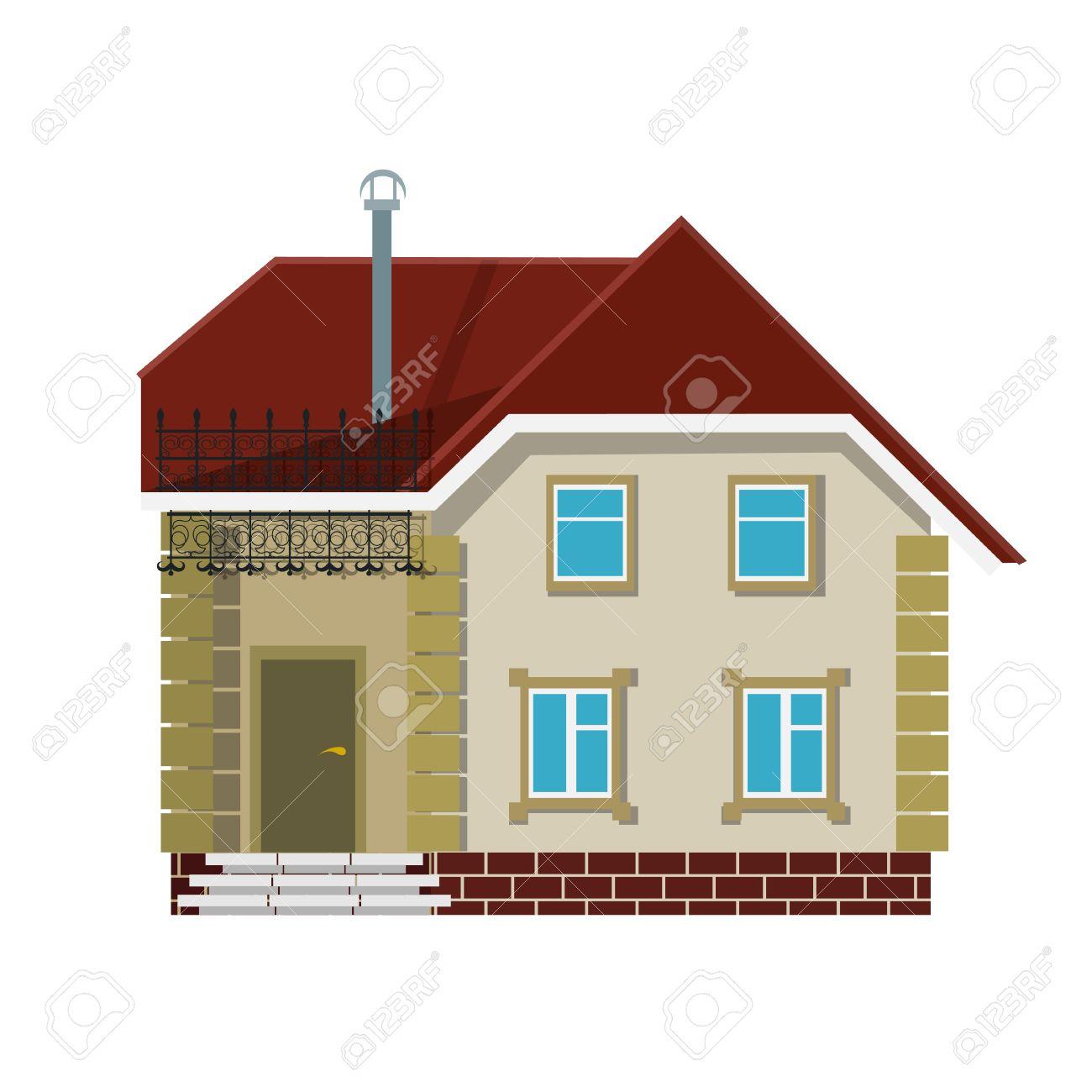 Kleines Dorf Haus Auf Einem Weißen Hintergrund. Die Wohnung Stil. Farbe  Vektor Bild