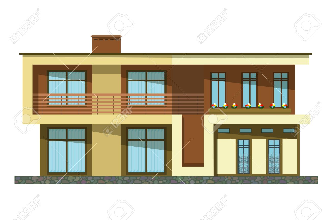 Flat Style. Cartoon Building. Modern Two-storey Private House ...