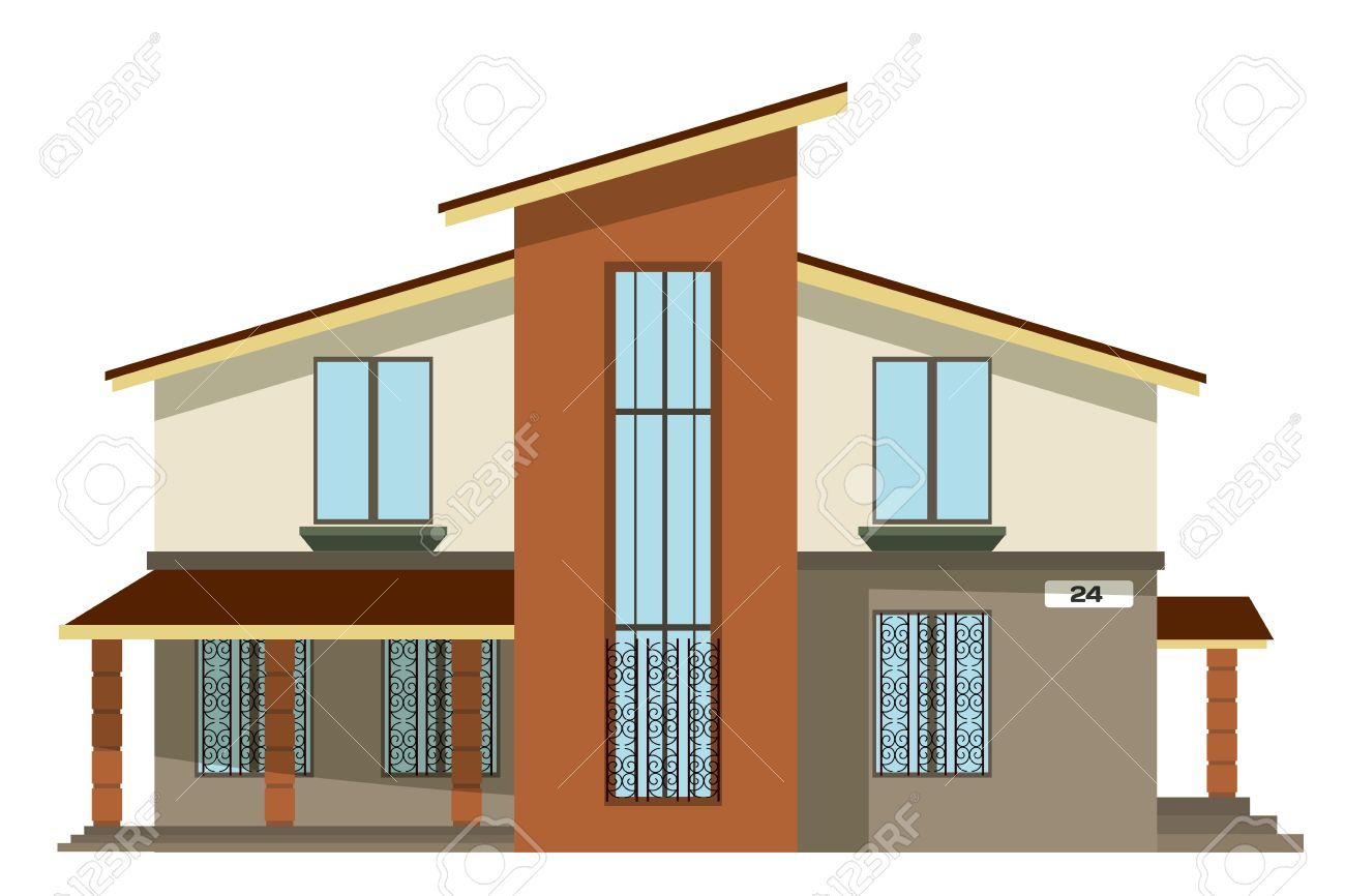 Flat Style Cartoon Building Modern Two Storey Private House Royalty Free Cliparts Vectors And Stock Illustration Image 63573968