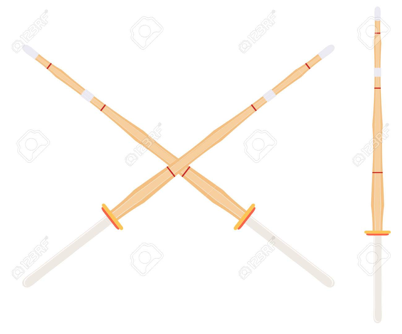 Two crossed bamboo training sword for kendo classes  Wooden Japanese