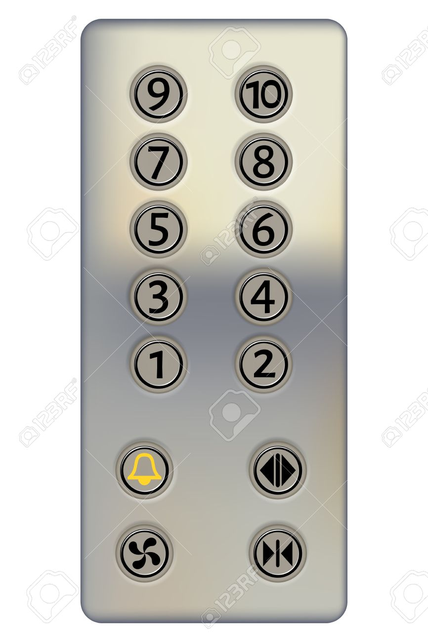 control panel of the elevator on a white background metal elevator