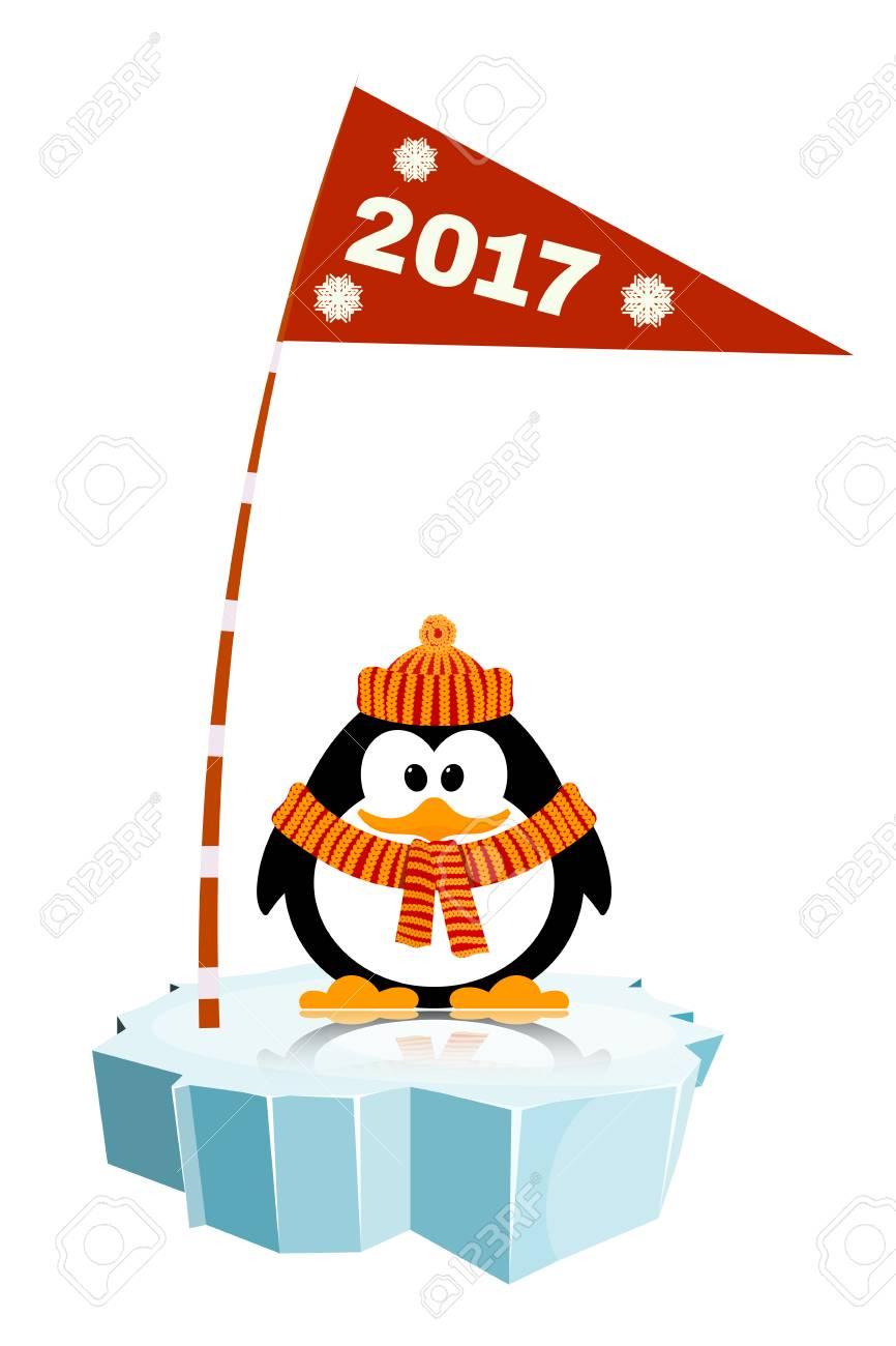 フラグと氷の帽子とスカーフを着て小さなペンギンのベクター イラスト