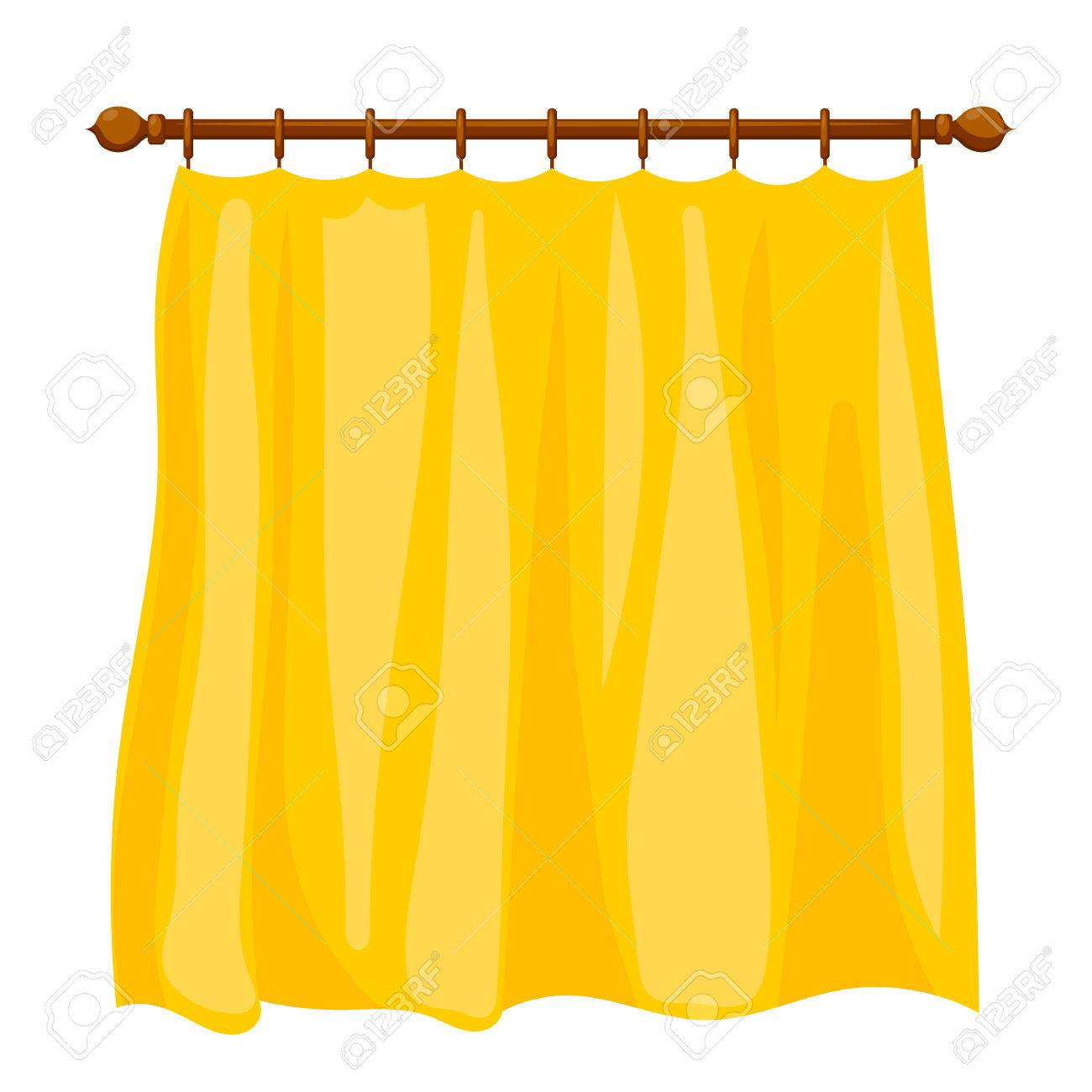 Vector Illustration Of Abstract Cartoon Yellow Curtains On The