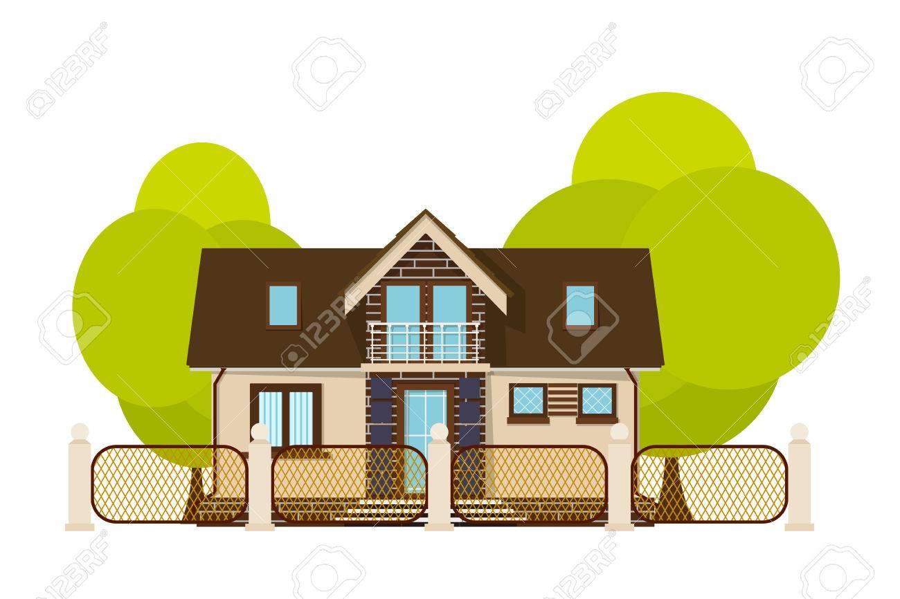 Nettes Kleines Haus Cartoon Haus Mit Zaun Und Grunen Baum Auf Einem