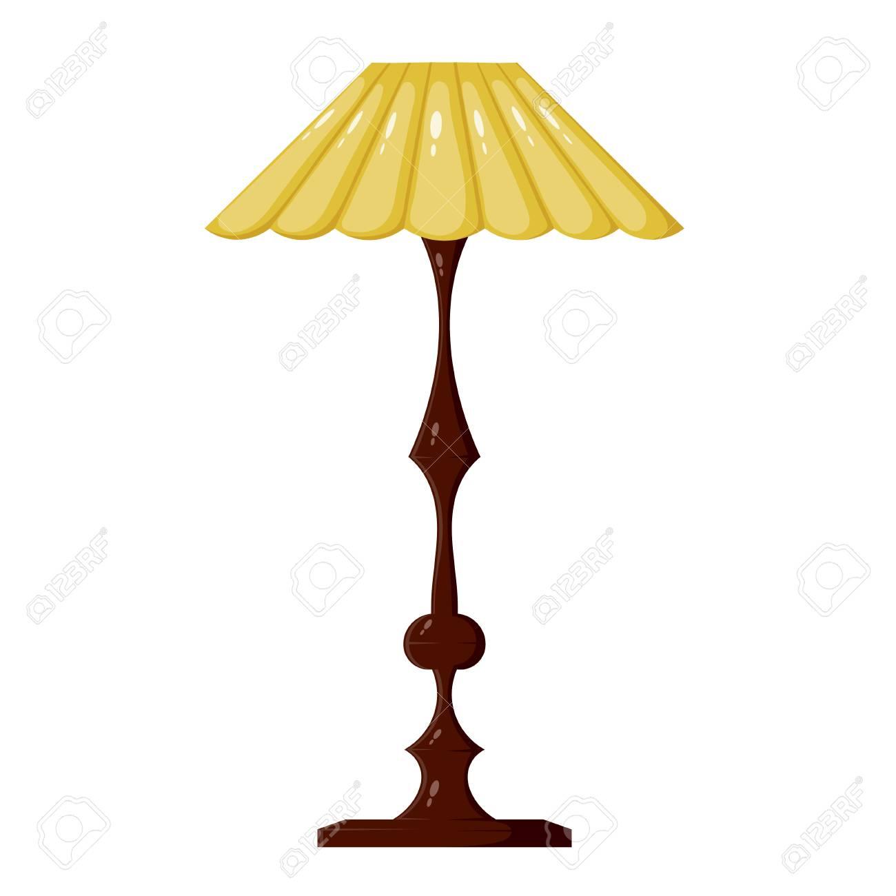 Vektor Illustration Der Gelben Stehlampe Auf Einem Weissen