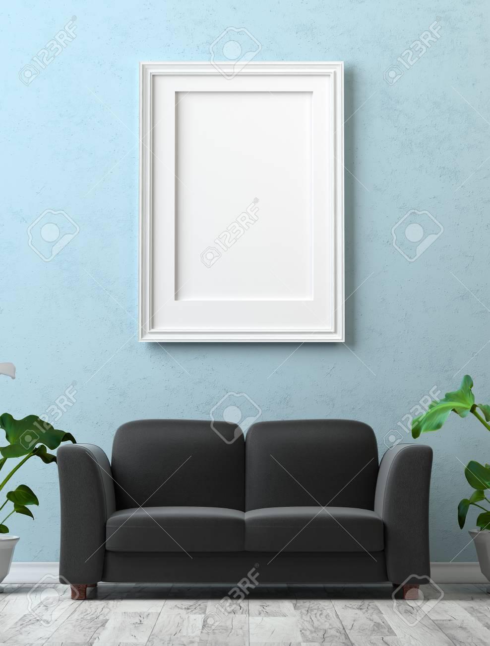 Maquette Intérieur Peinture Avec Une Toile Vierge Sur Le Mur De Plâtre Bleu Canapé Noir Sur Un Stratifié Gris Et Des Fleurs De Calla Sur Le Sol