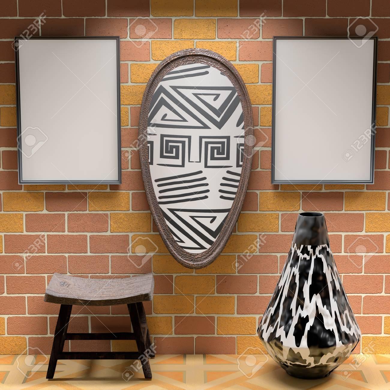 Mocap Afrikanischen Interieur Wohnzimmer. Leere Gemälde Und Schild Mit  Afrikanischen Mustern Auf Der Mauer.