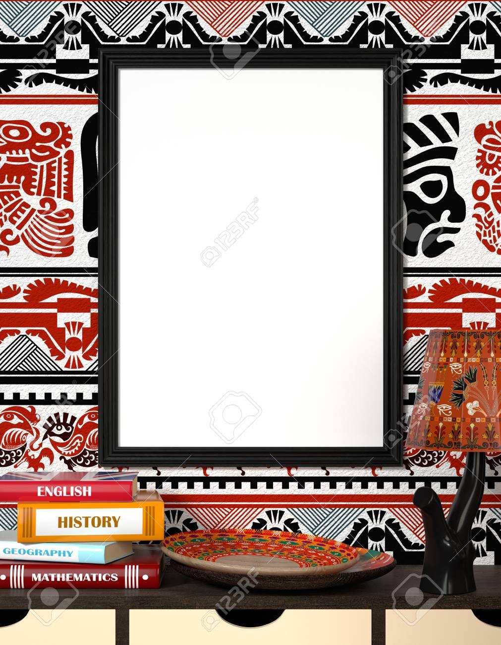 Mock Up Interior. Libros Sobre Una Mesa De Madera. Placa Africana ...