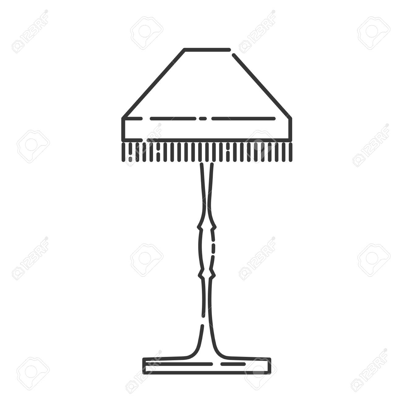 Floor Lamp In A Linear Style Line Icon Isolated On White