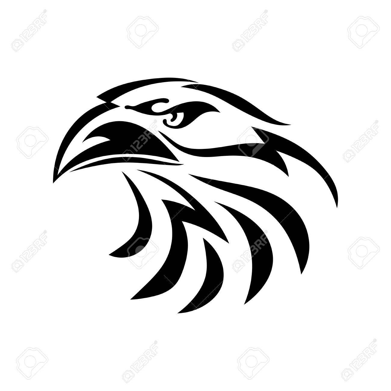 Dessin Graphique Noir Dune Tête Daigle Sur Fond Blanc Oiseau Abstrait Avec Un Bec Illustration Vectorielle