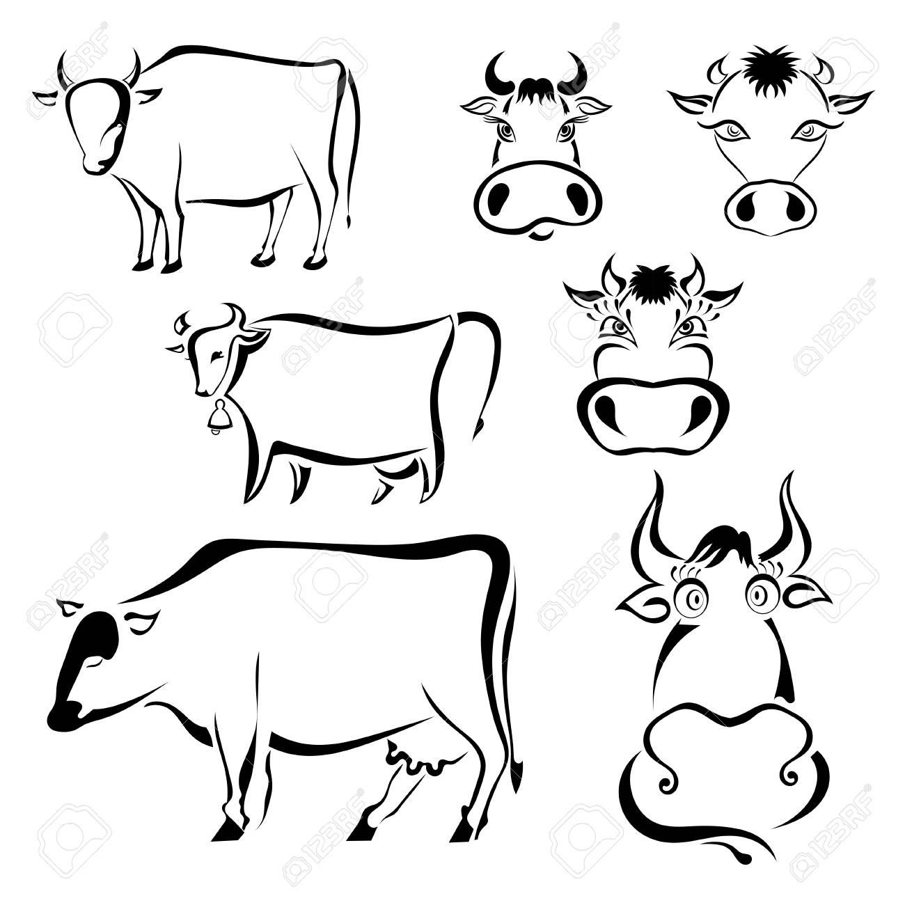 Set Of Black Graphic Images Cows On A White Background Abstract Drawings Milk