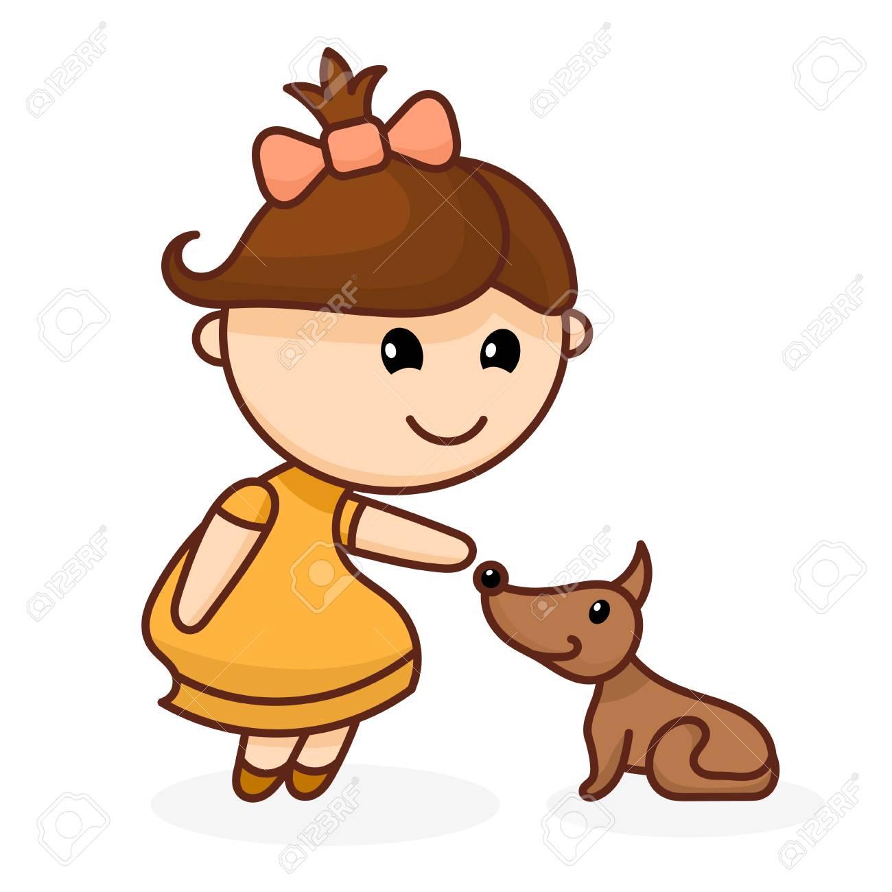 Image Couleur Abstraite D Une Petite Fille Mignonne Avec Un Arc Et Un Chien Fille De Dessin Animé Avec Un Chien Sur Fond Blanc Illustration