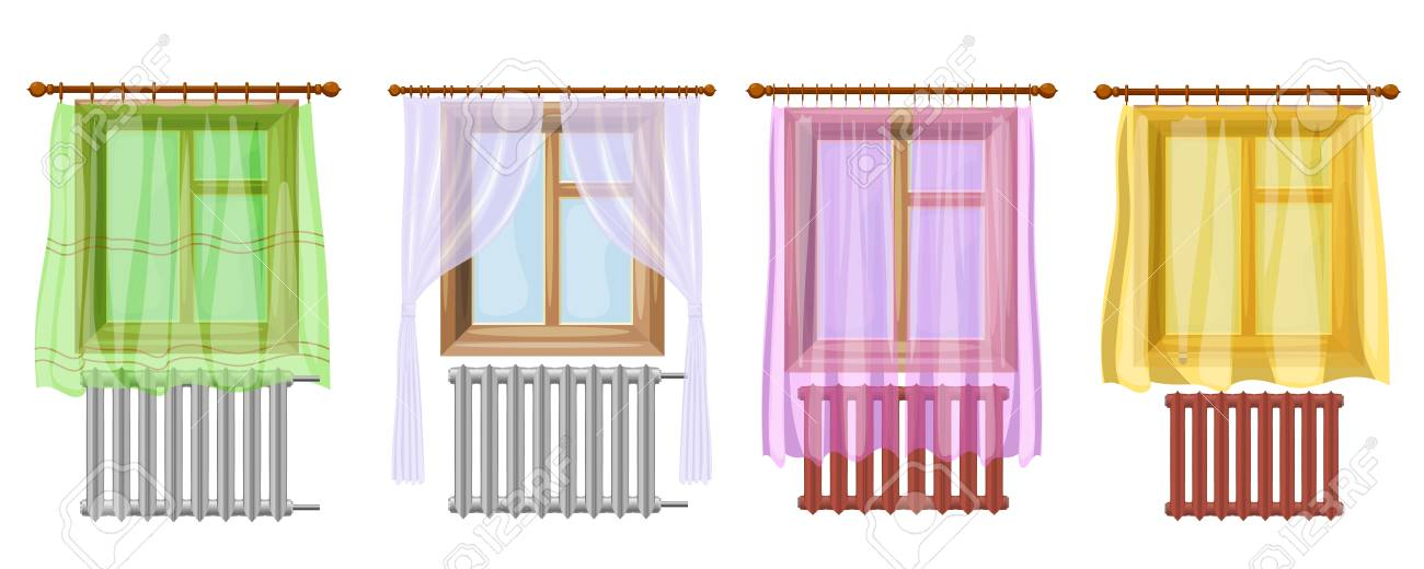 A Set Of Cartoon Colored Image Window Curtains And Radiators On White Background