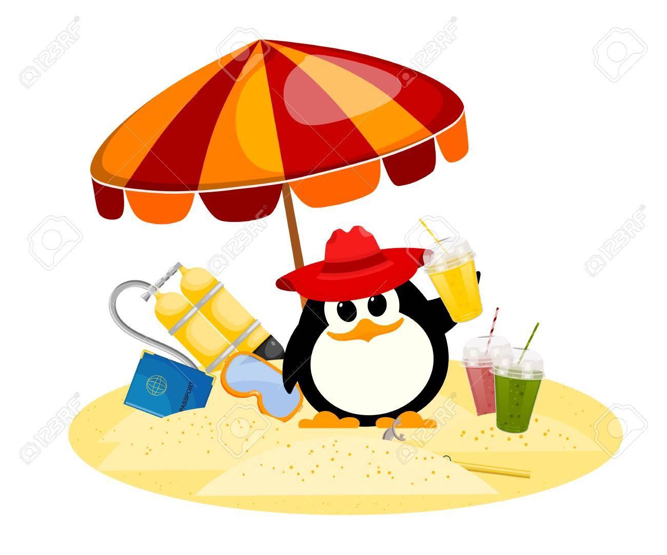 Dessin Parasol image couleur de dessin animé d'un petit pingouin sous un parasol en