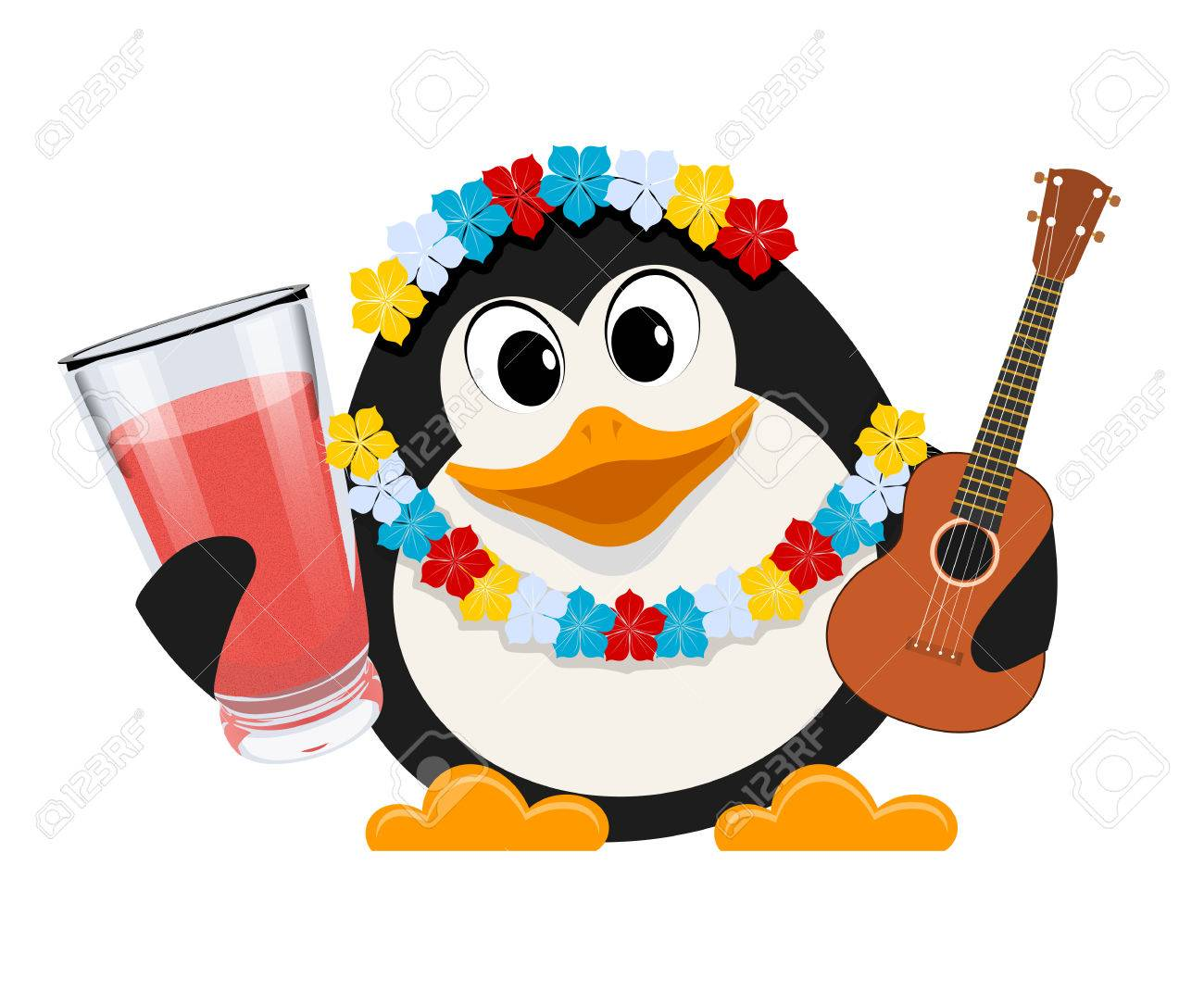 Holidays in hawaii cartoon style color image of a small cute holidays in hawaii cartoon style color image of a small cute penguin with garlands of izmirmasajfo Images