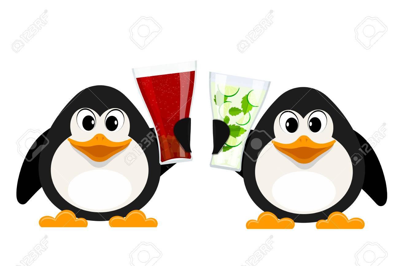 2 つの小さなペンギン コーラ メガネとノンアルコール モヒート漫画