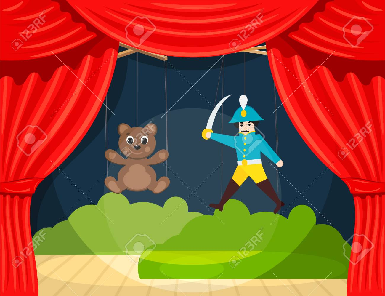 Children's Puppet Theater with puppets puppets bear and soldier. Vector illustration - 93886749