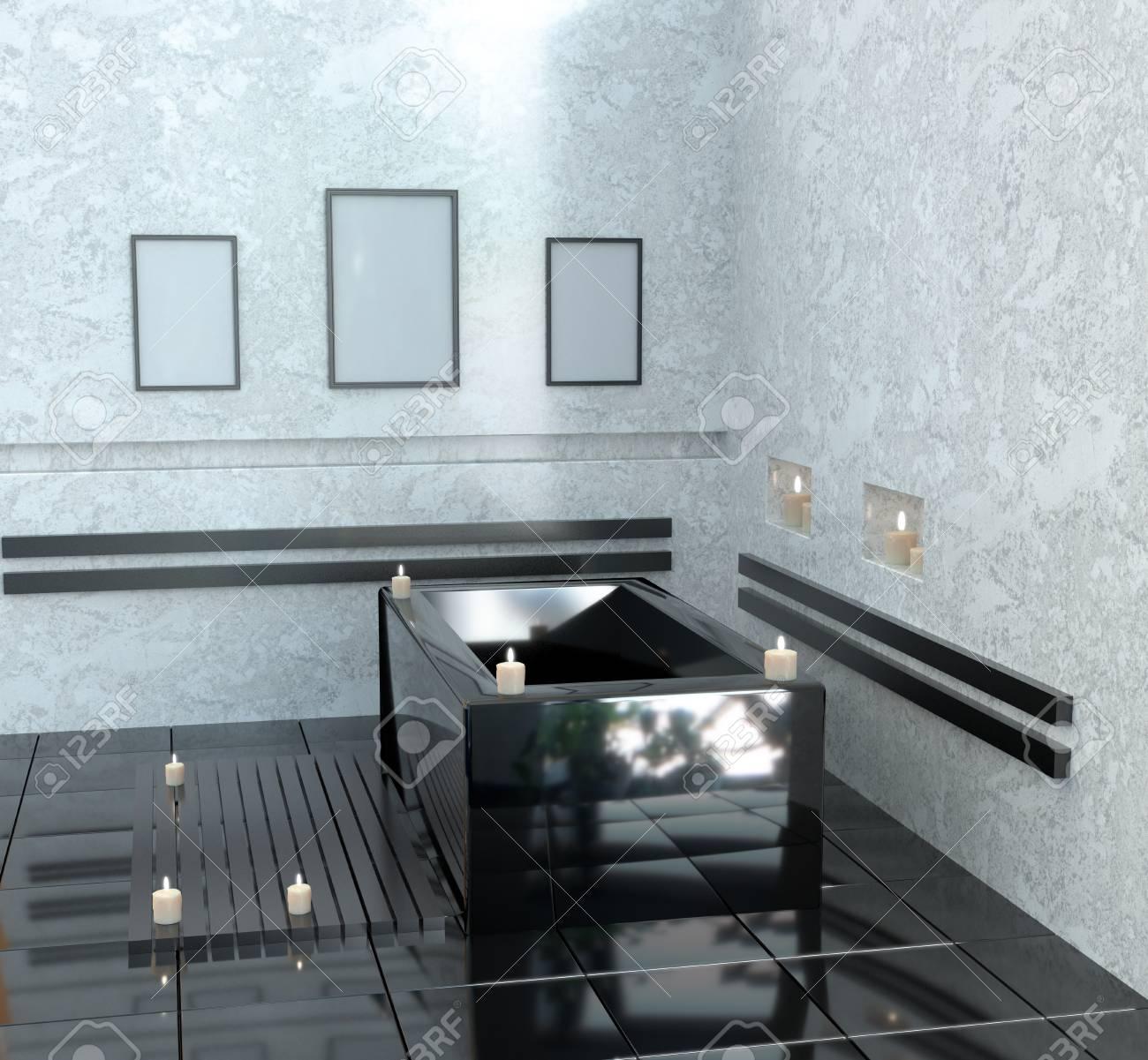 Salle De Bains Moderne Avec Bain En Céramique Avec Des Inscriptions ...